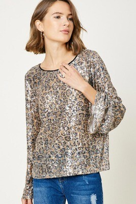 Leopard Sequin Bell Sleeve Top