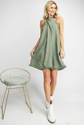 Linen Fringe Halter Dress
