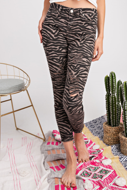 Cropped Animal Print Jeans