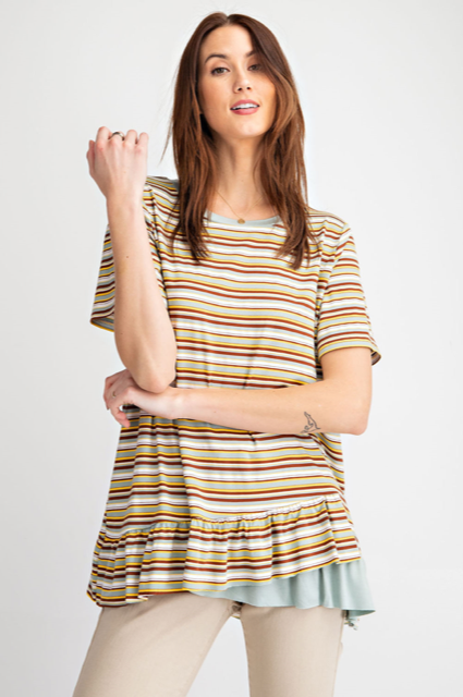 Striped Short Sleeved Ruffled Tunic