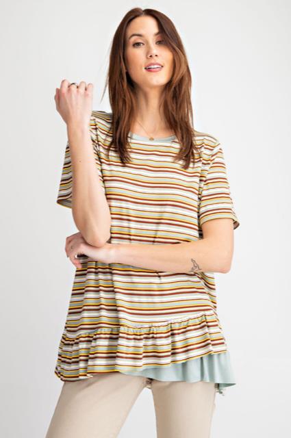 Striped Short Sleeved Ruffled Tunic