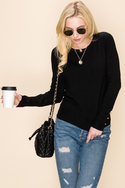 Round Neck Classic Black Sweater