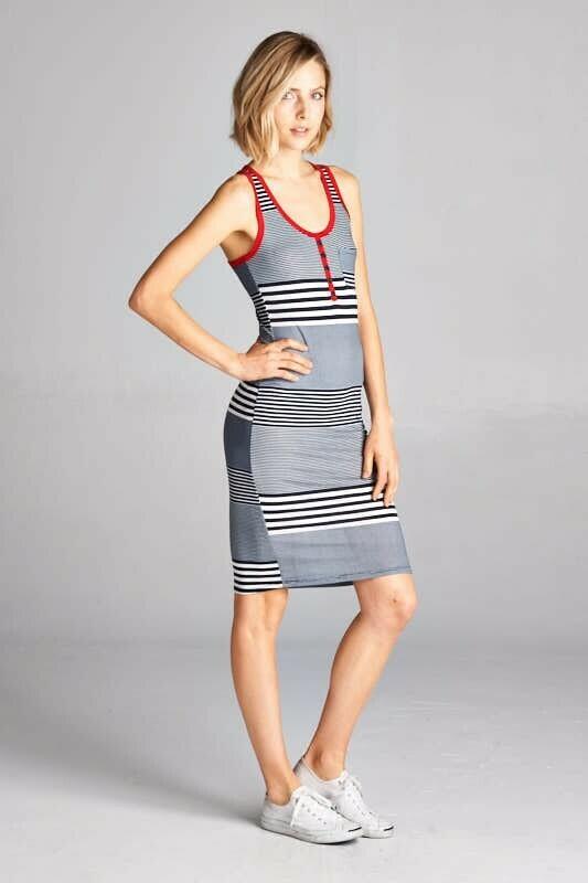 Striped Racer Back Dress