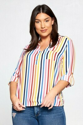 Striped Henley Blouse