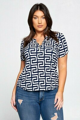 Greek Pattern Henley Knit Top