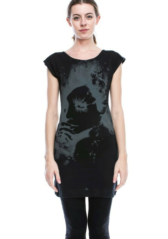 Solid Tunic With Face Print