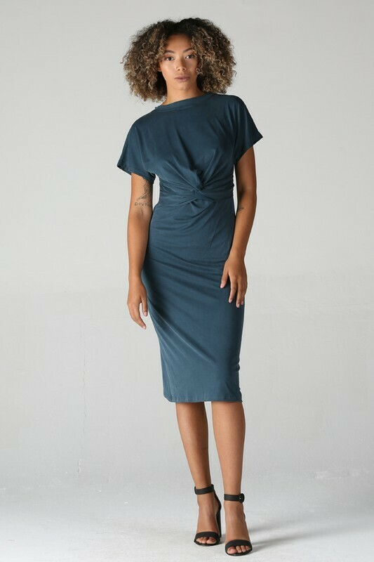 Teal Knit Twist Dress