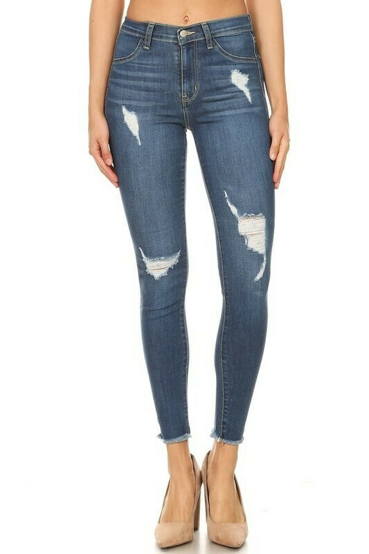Plus Highrise Distressed Skinny Jeans