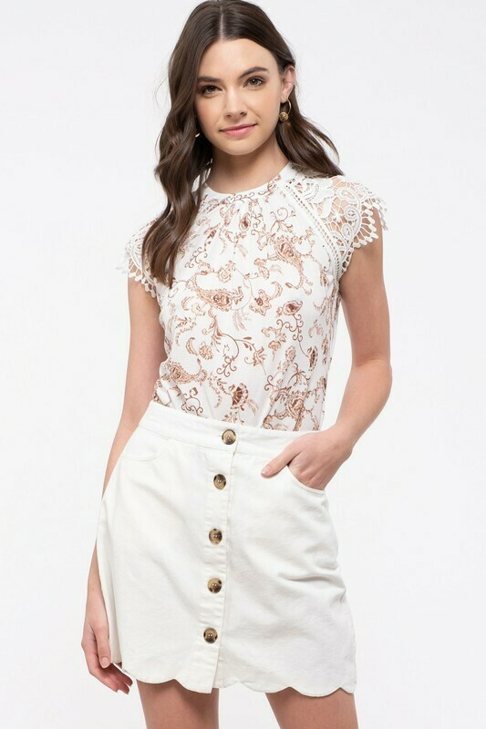 Romantic Lace Cap Sleeve Top
