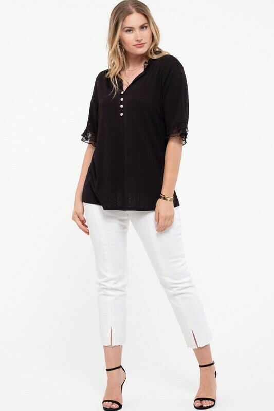 Short Sleeved Textured Top