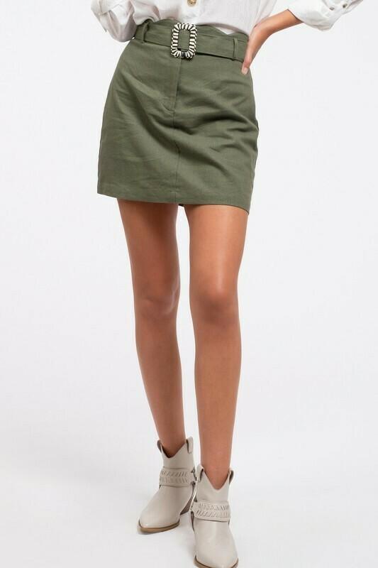 Belted Linen Mini Skirt
