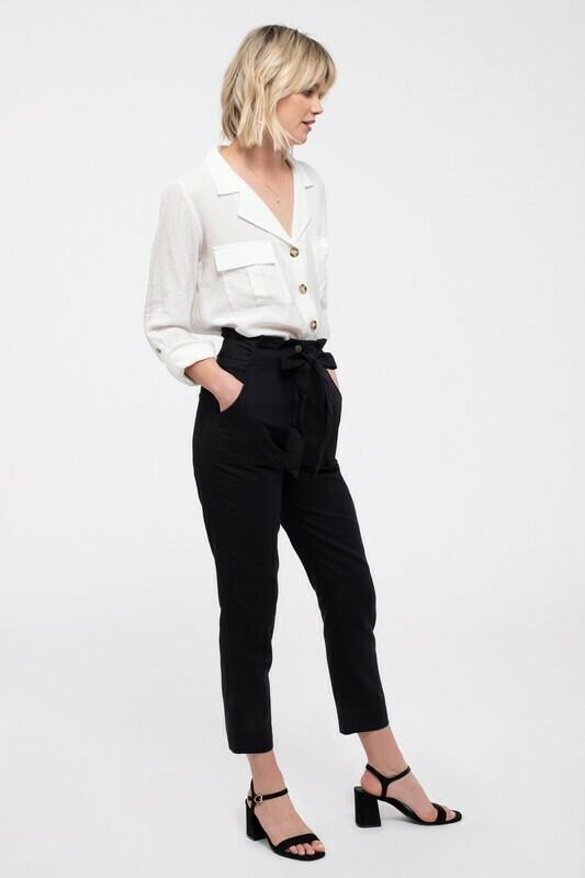 Belted Paperbag Pants
