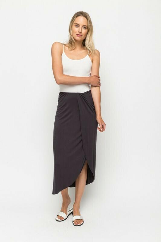 Faux Side Wrap Midi Skirt