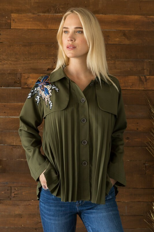 Embroidered Short Trench Coat