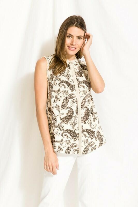 Sleeveless Paisley Dress Shirt