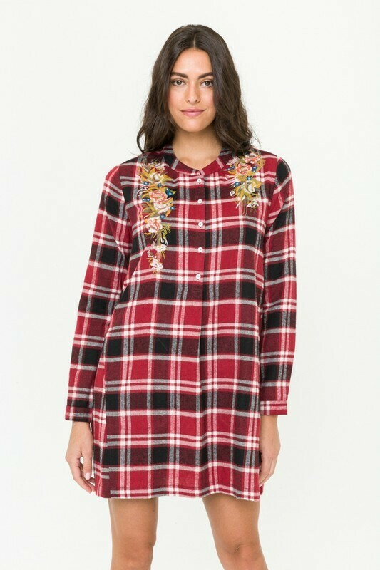 Embroidered Plaid Henley Dress