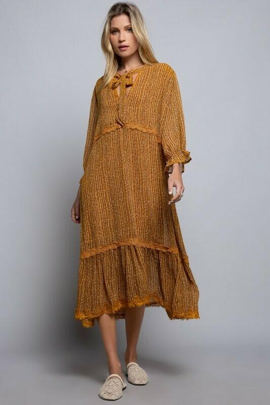 Lace Trim Boho Dress