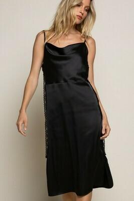 Satin Cowl Draped Midi Dress