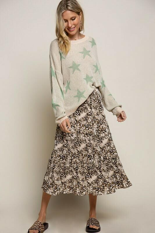 Pleated Midi Leopard Skirt
