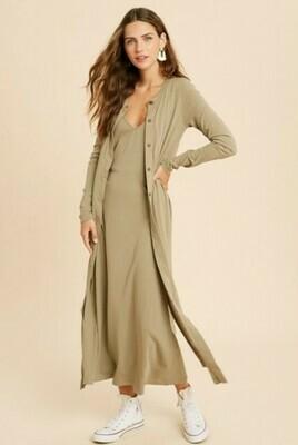 Midi Knit Dress and Cardigan Set