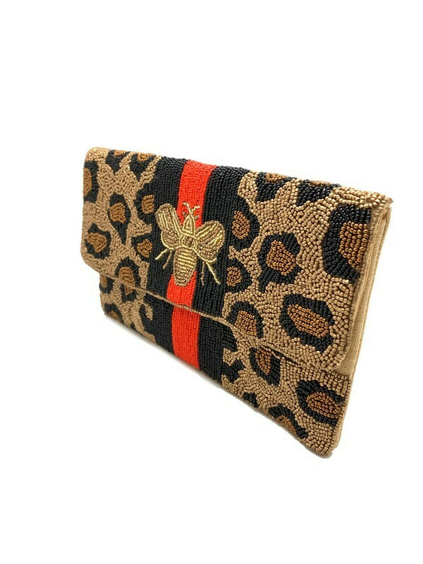 Benton Beaded Leopard Print Bee Crossbody RED