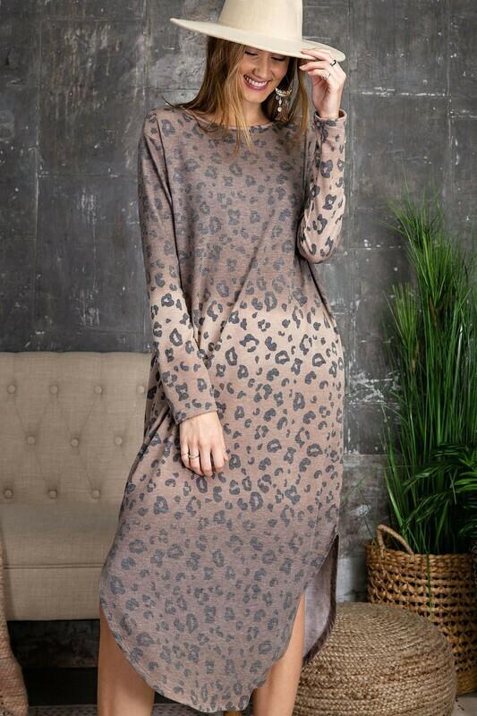 Animal Printed Midi Dress With Pockets