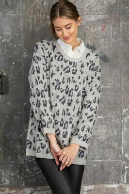 Boxy Leopard Print Sweater