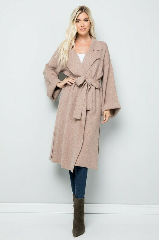 Elegant Knitted Trench Coat