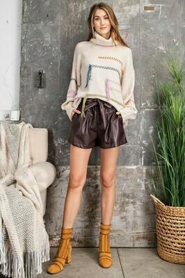 Paper Bag Belted Shorts