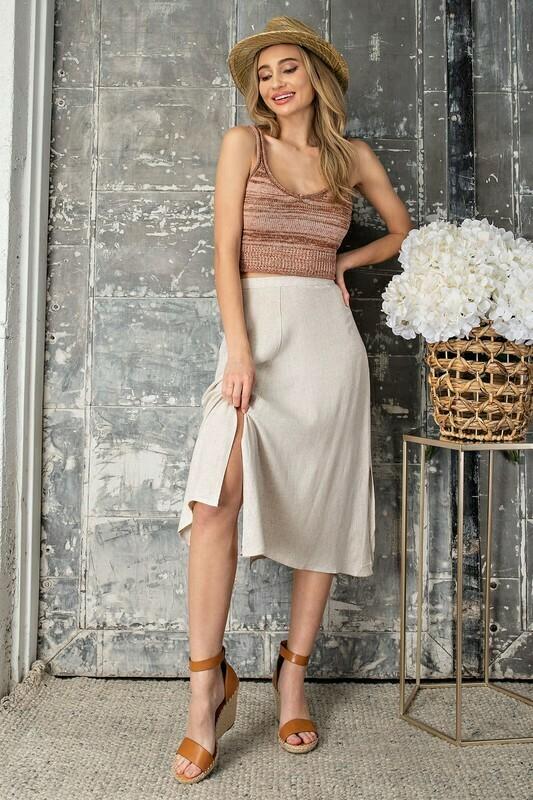 Woven High Waisted Midi Skirt