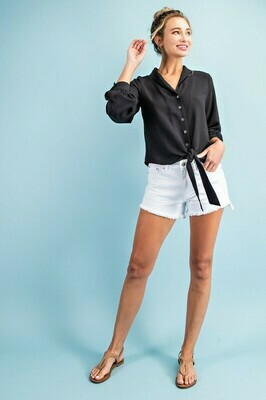 Shawl Collar Button Down Blouse