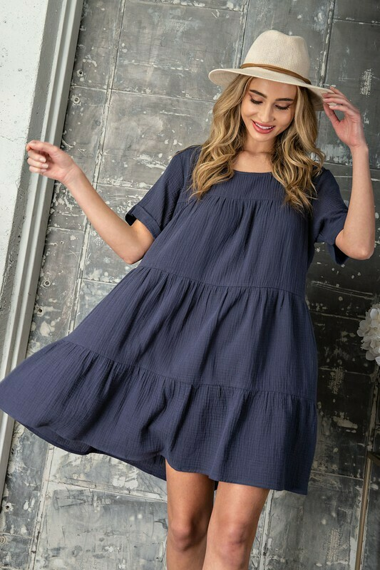 Mineral Washed Tiered Dress