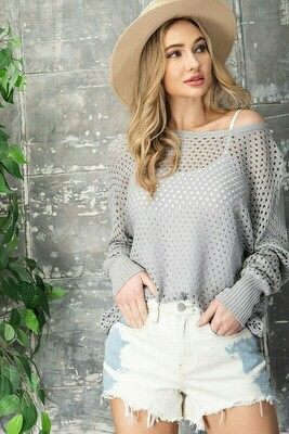 Eyelet Knit Sweater Top