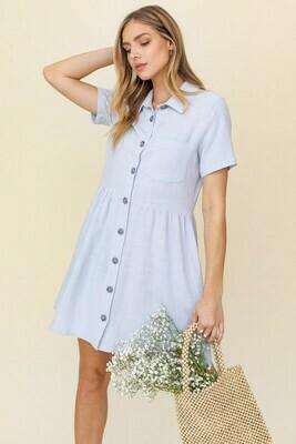 Short Sleeved Linen Dress