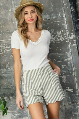 Pinstriped Scalloped Shorts
