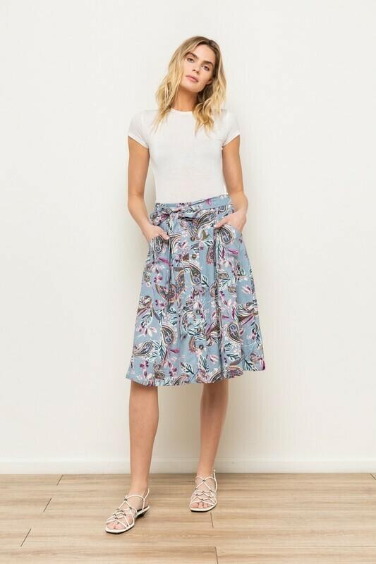 Linen Paisley Midi Skirt
