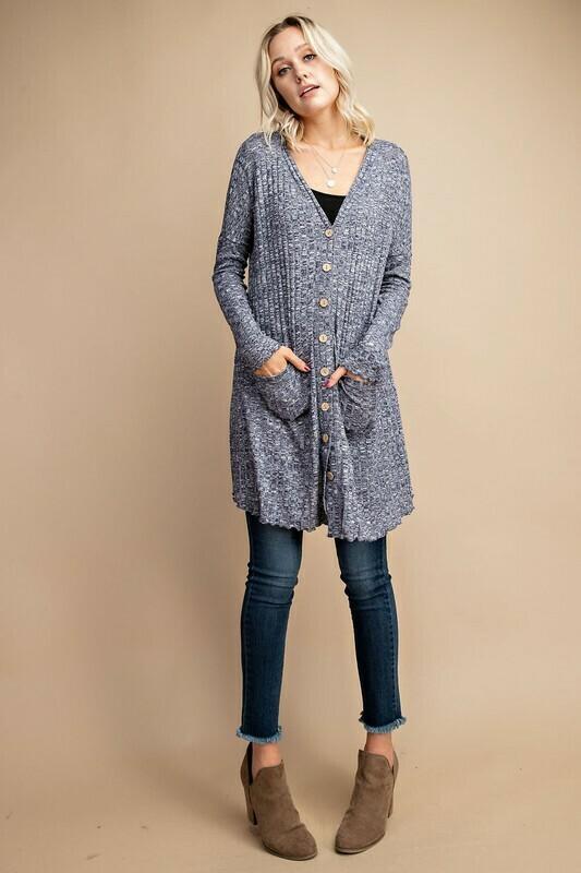 Marled Rib Knit Long Cardigan