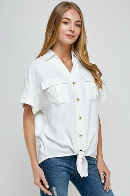 Linen Pocket Blouse