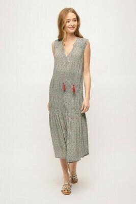 Pintucked Maxi Dress