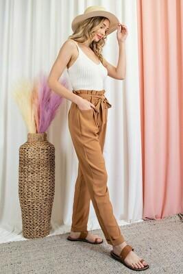 Comfy Belted Paperbag Waist Pants