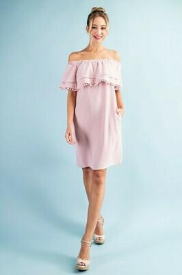 Off The Shoulder PomPom Dress