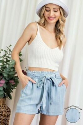 Mineral Washed Tencel Shorts