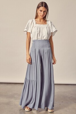 Embroidered Waist Tiered Pants