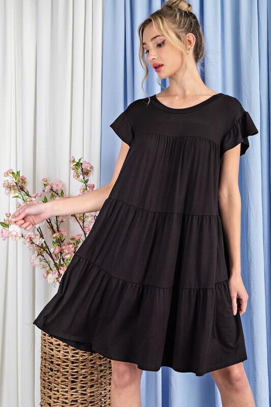 Tiered Ruffle Sleeve Mini Dress