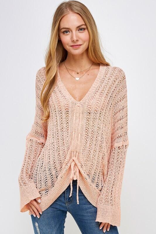 V-Neck Crochet Sweater