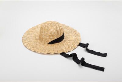 Irene Scalloped Brim Hat With Ribbon