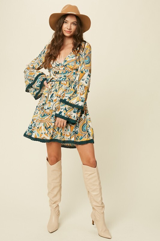 Printed Layered V-Neck Dress