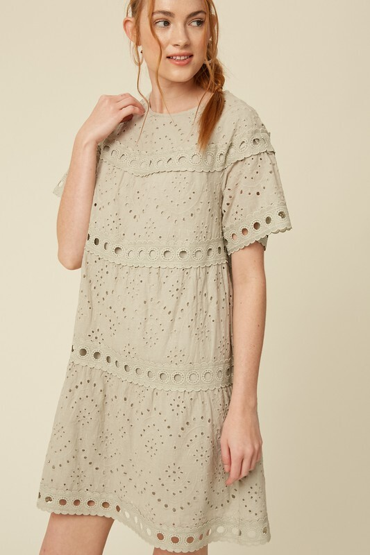 Embroidered Eyelet Tiered Dress