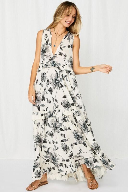 Soft Flower Print Maxi Dress