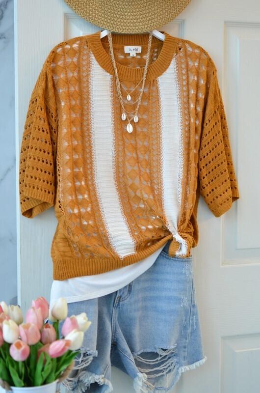 Crochet Short Sleeve Sweater